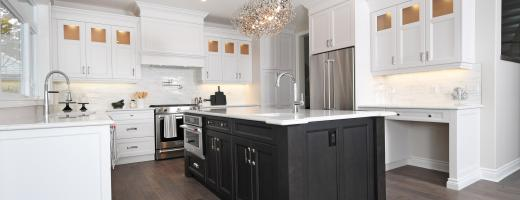 With Sier Developments In Wortley Village London On The Kitchen Keeps It Clic Soft White Perimeter Cabinetry Polar And A Dark